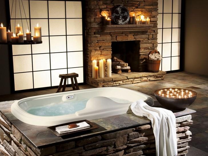 bath candles fireplace interior stone Favim.com 351089