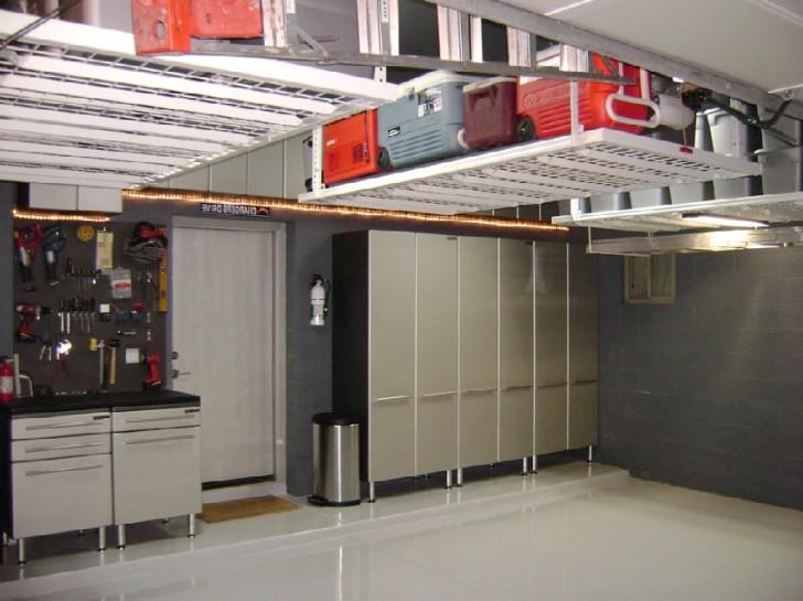 garage organization with overhead cabinet