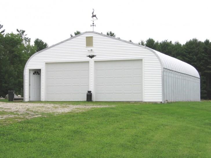 large white prefab garage