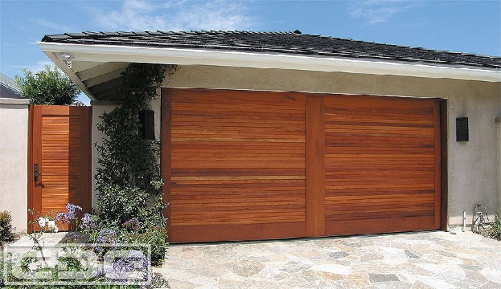mid century door of prefab garage