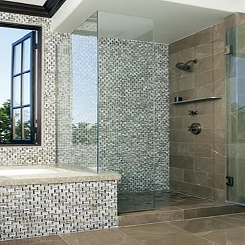 Mosaic bathroom tile ideas for showers for Mosaic bathroom ideas