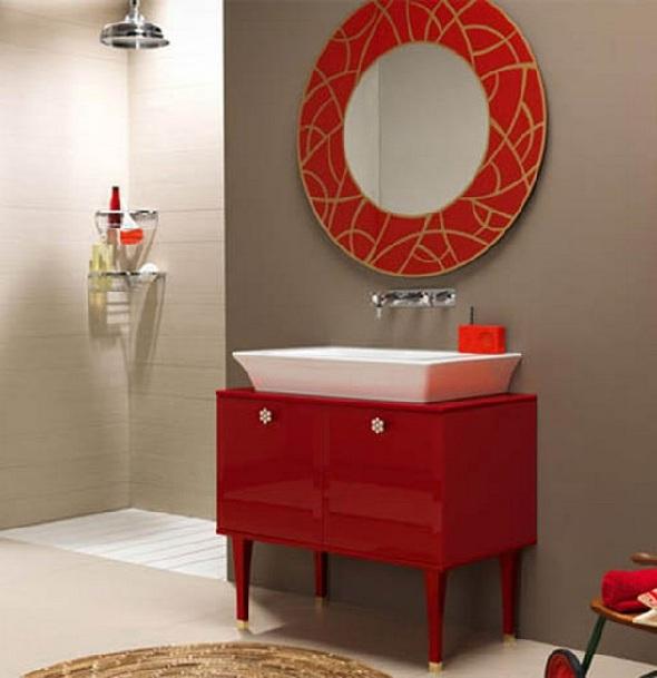 Red Bathroom Vanity For Remodel