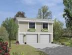 white theme apartment with two car garage plan
